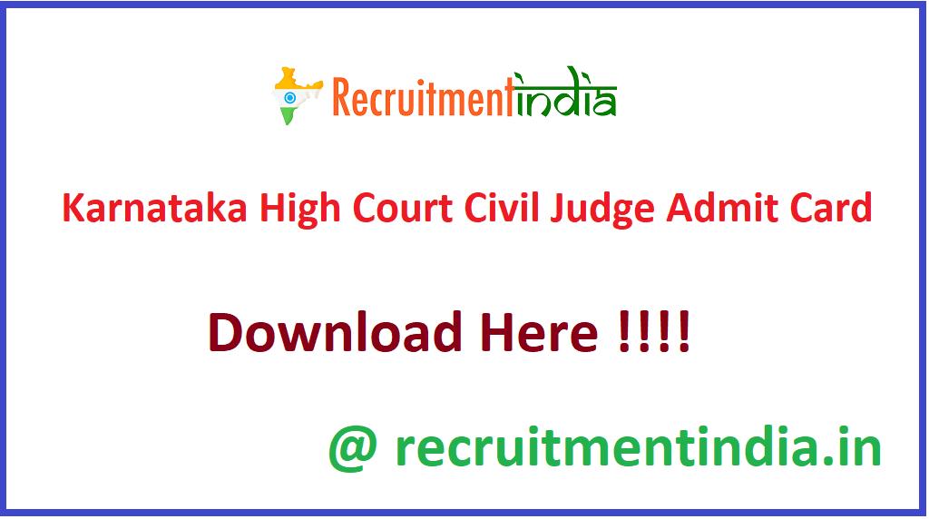 Karnataka High Court Civil Judge Admit Card