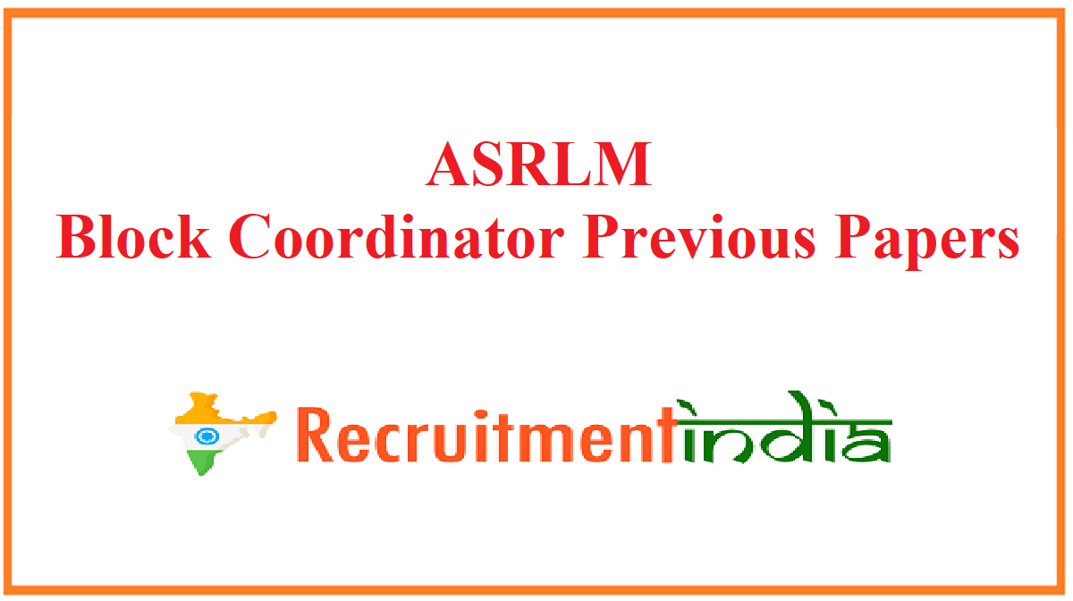 ASRLM Block Coordinator Previous Papers