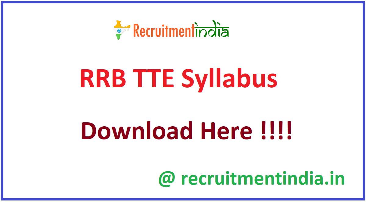 RRB TTE Syllabus