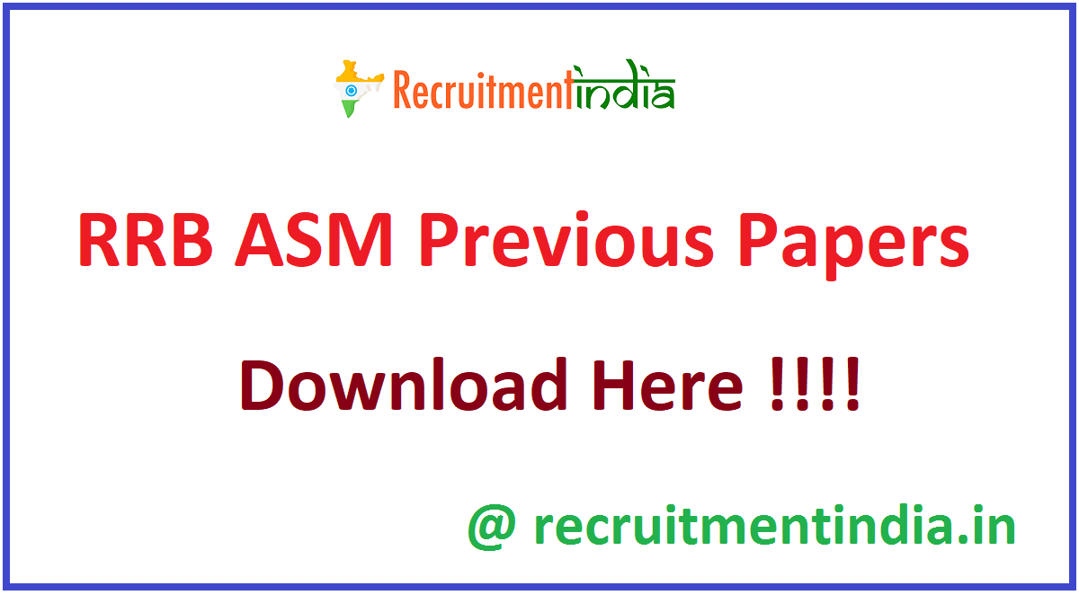 RRB ASM Previous Papers