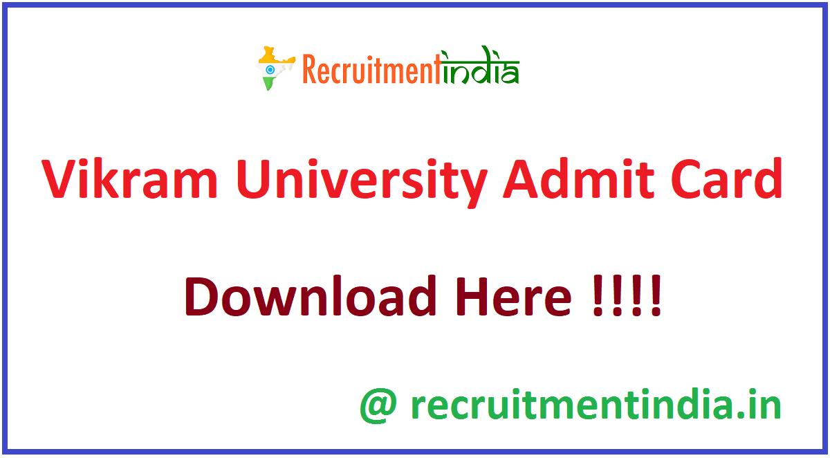Vikram University Admit Card 2020
