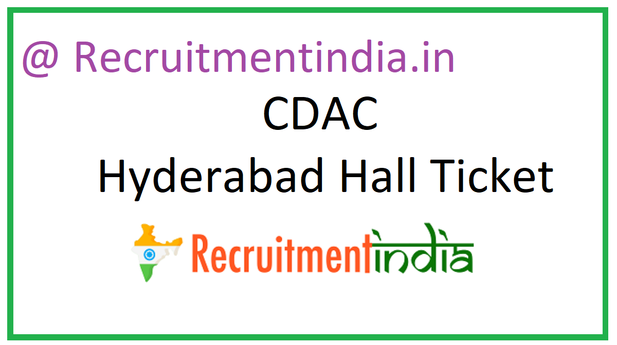 CDAC Hyderabad Hall Ticket