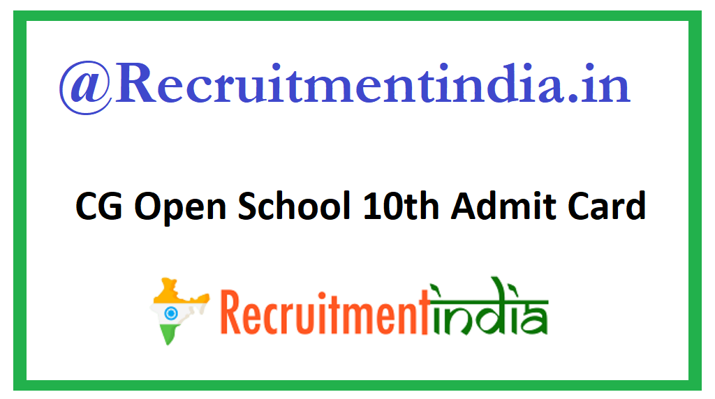 CG Open School 10th Admit Card