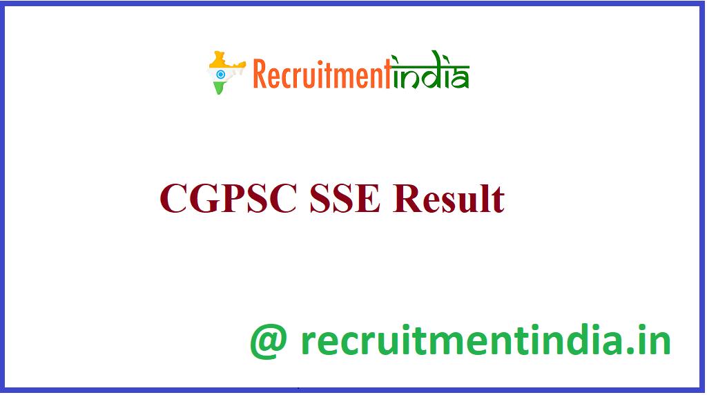 CGPSC SSE Result
