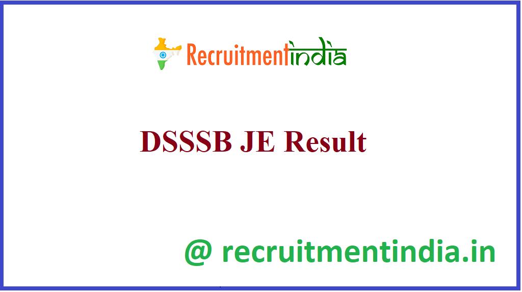 DSSSB JE Result