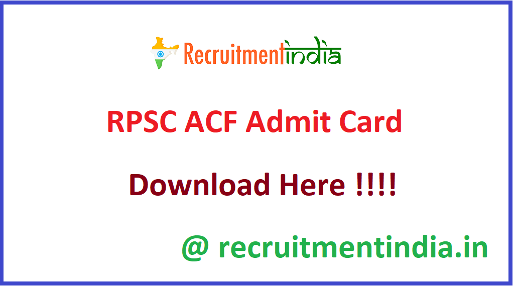 RPSC ACF Admit Card