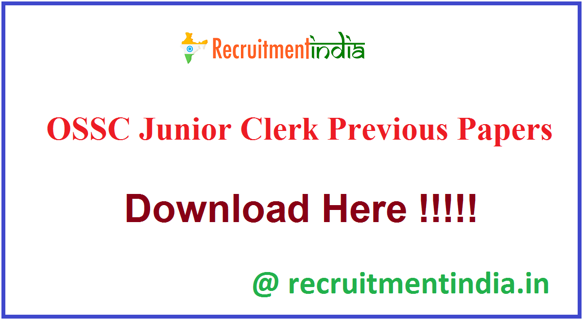 OSSC Junior Clerk Previous Papers