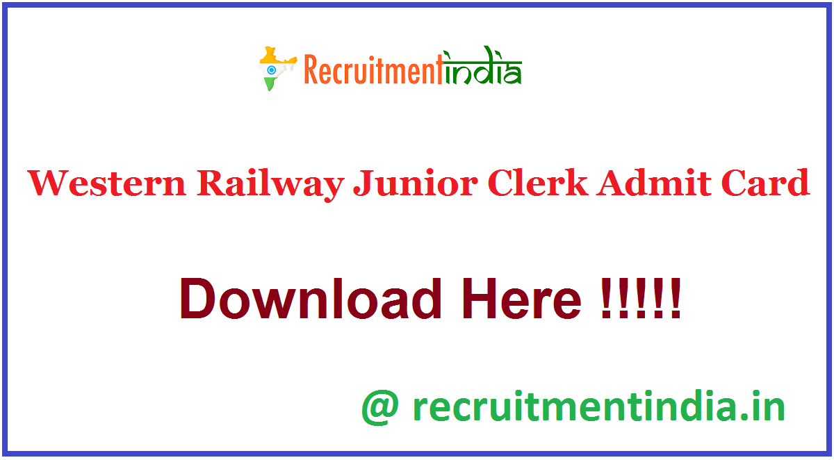 Western Railway Junior Clerk Admit Card