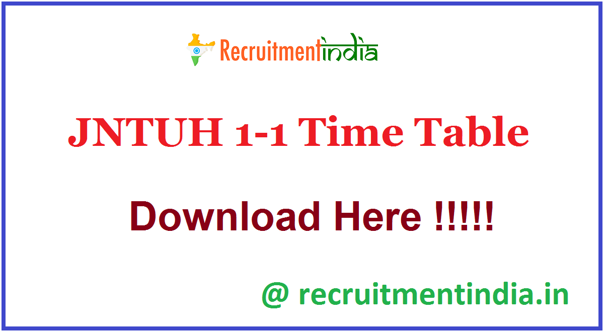 JNTUH 1-1 Time Table