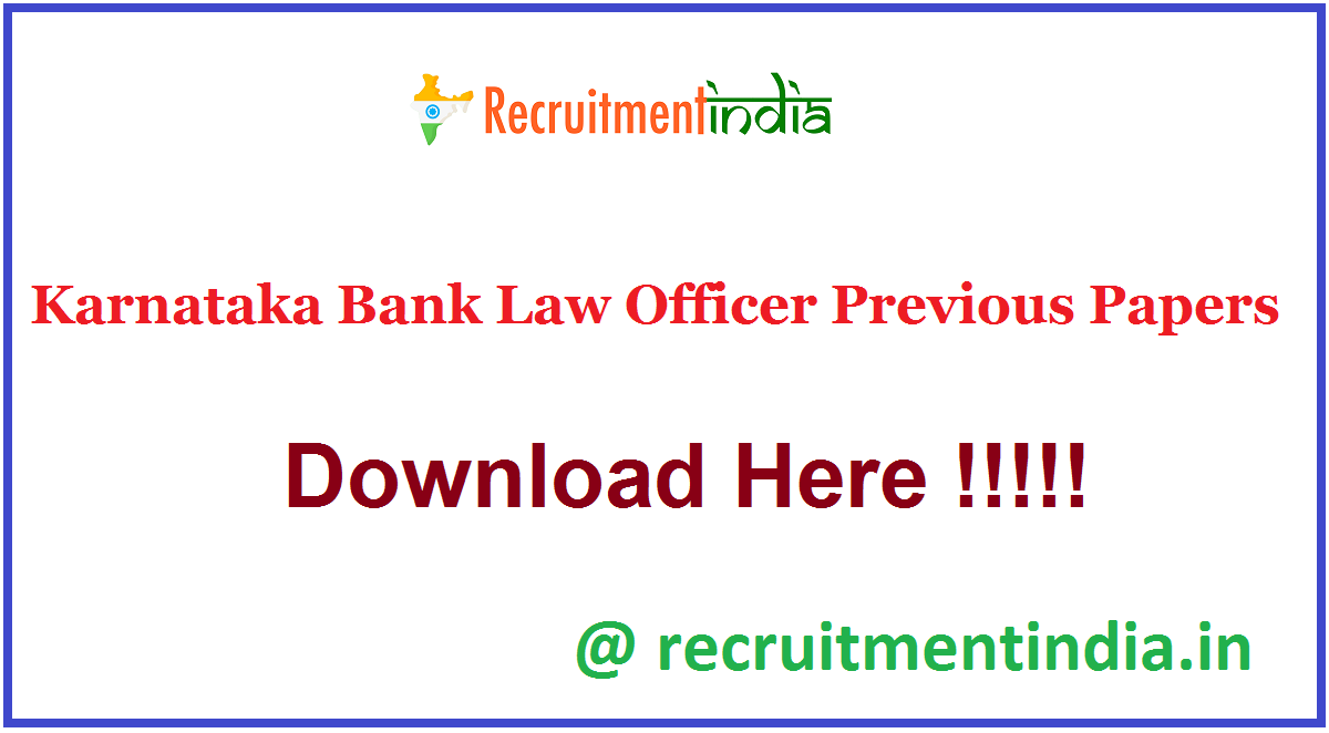 Karnataka Bank Law Officer Previous Papers
