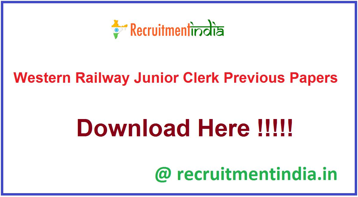 Western Railway Junior Clerk Previous Papers