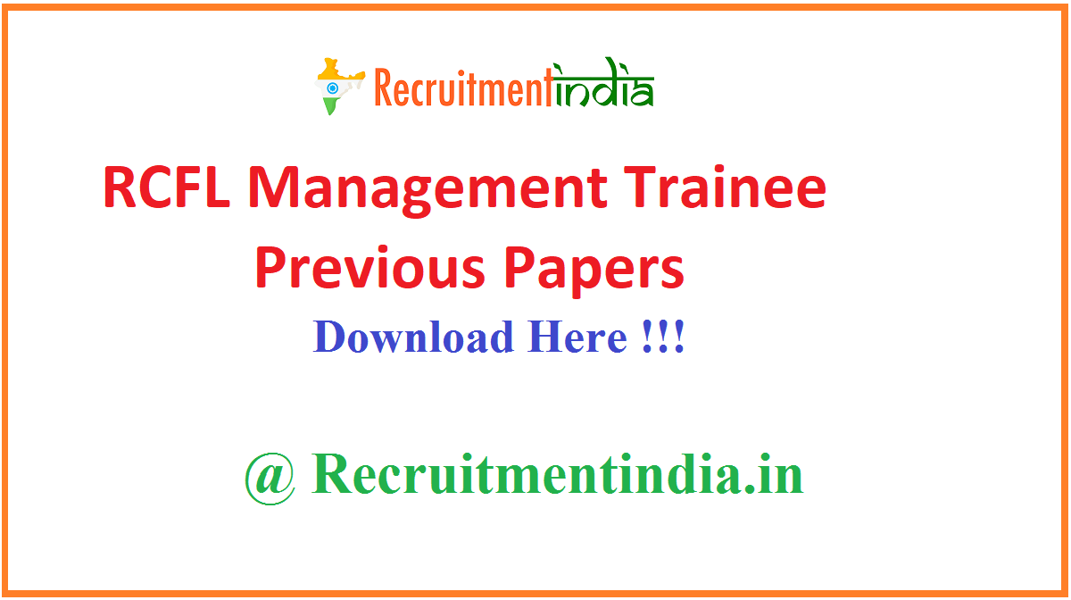 RCFL Management Trainee Previous Papers