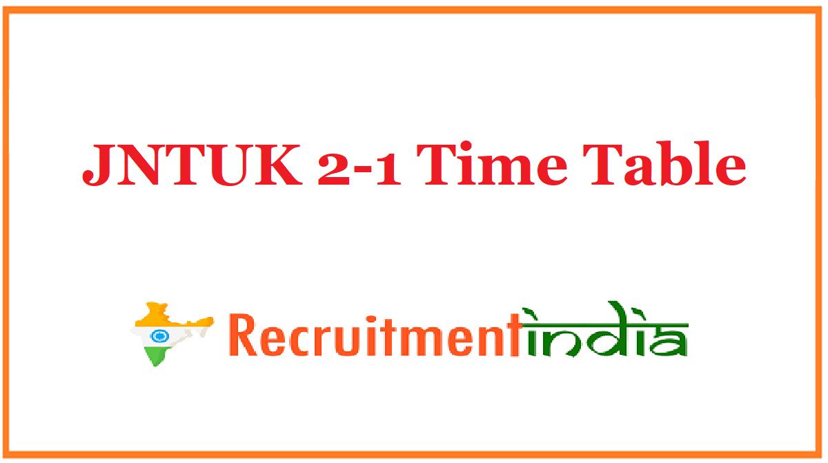 JNTUK 2-1 Time Table