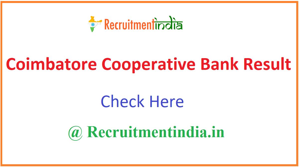 Coimbatore Cooperative Bank Result