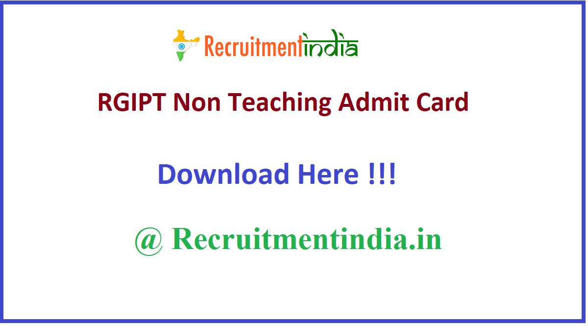 RGIPT Non Teaching Admit Card