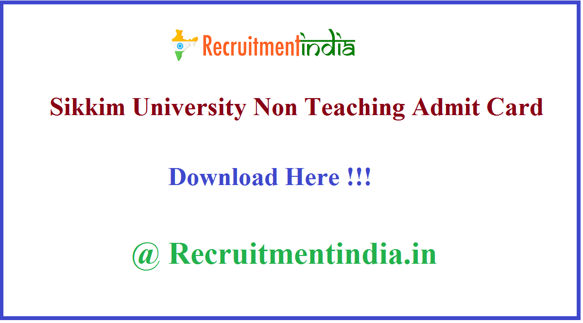 Sikkim University Non Teaching Admit Card