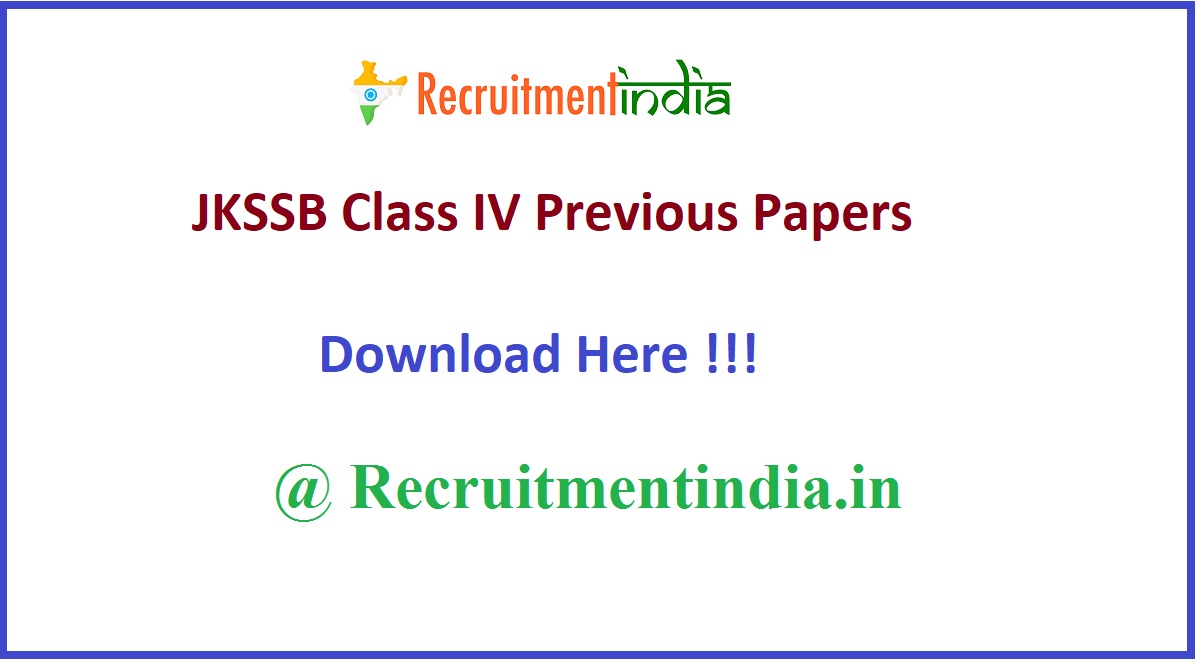 JKSSB Class IV Previous Papers