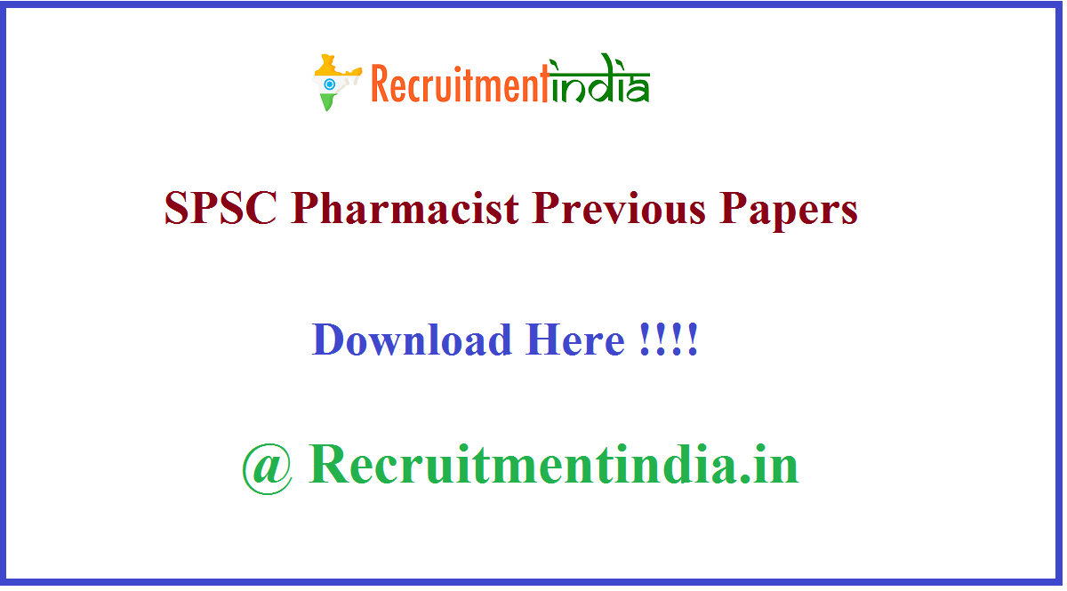 SPSC Pharmacist Previous Papers