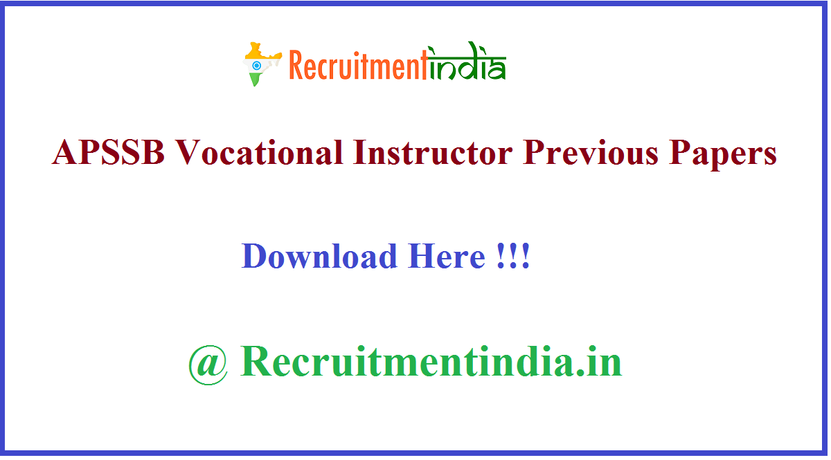 APSSB Vocational Instructor Previous Papers