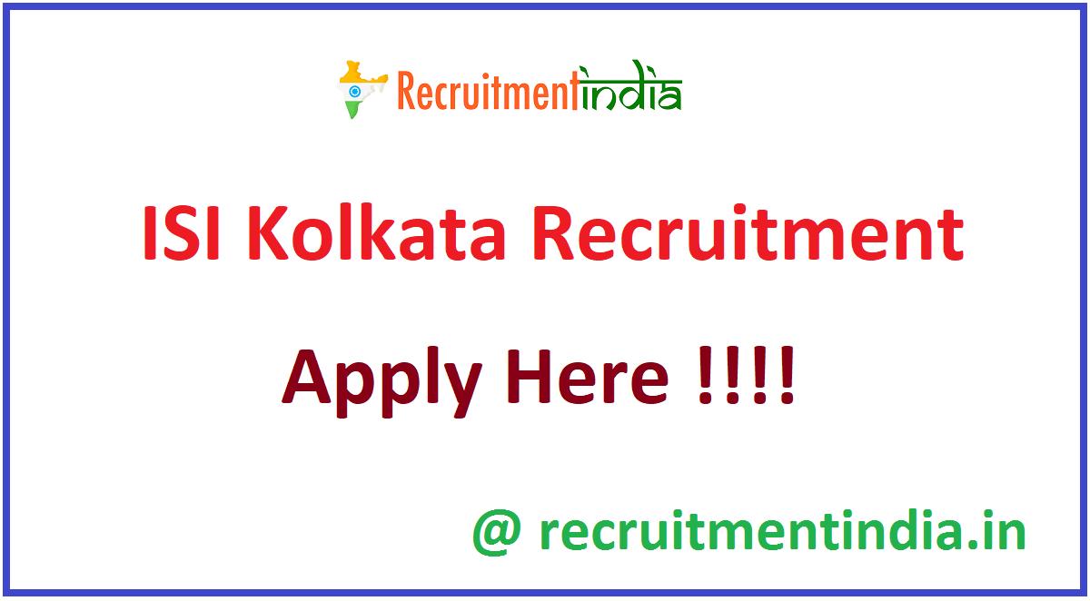 ISI Kolkata Recruitment