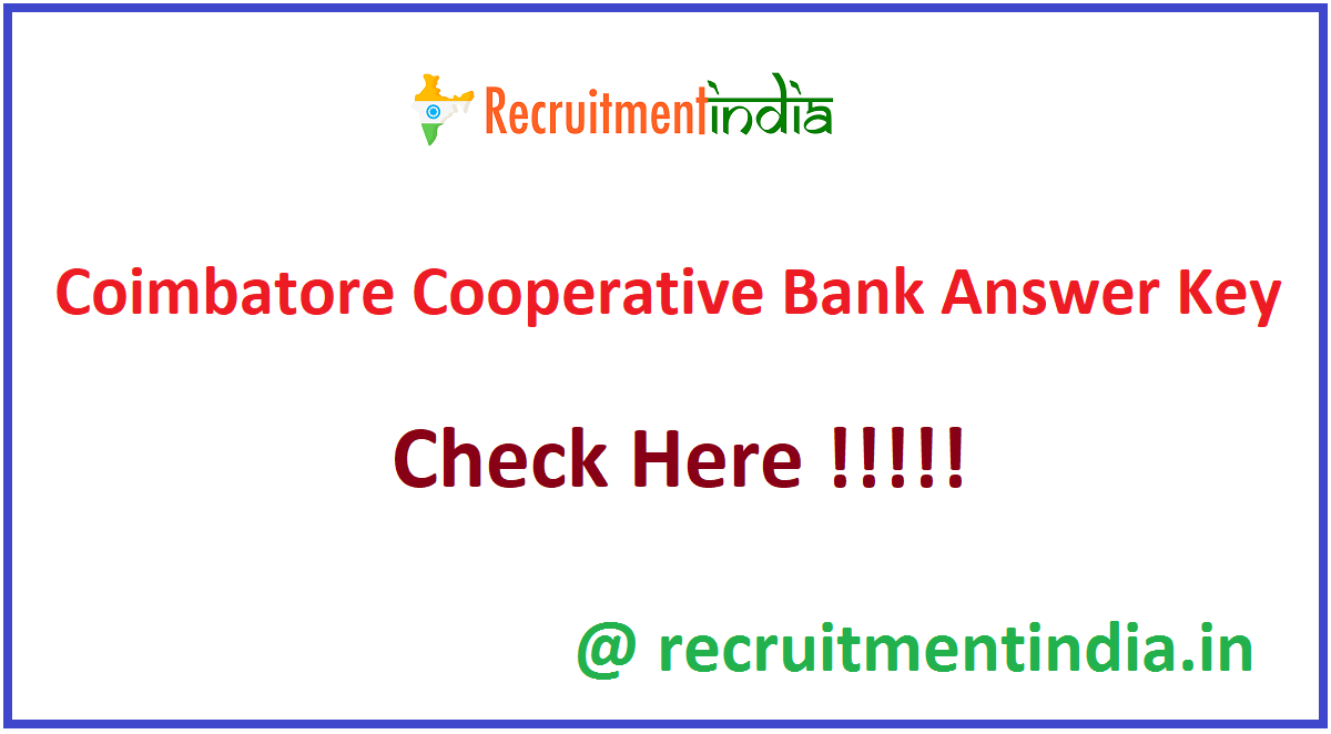 Coimbatore Cooperative Bank Answer Key