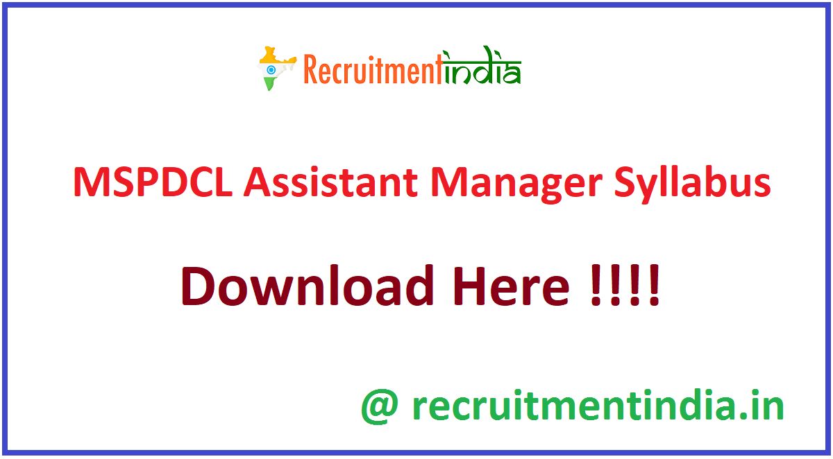 MSPDCL Assistant Manager Syllabus