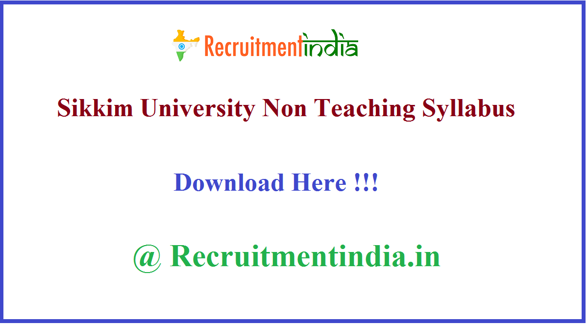 Sikkim University Non Teaching Syllabus