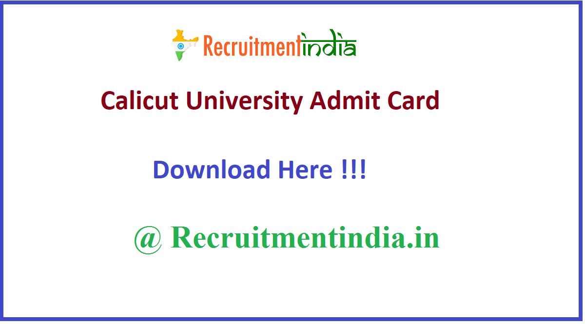 Calicut University Admit Card