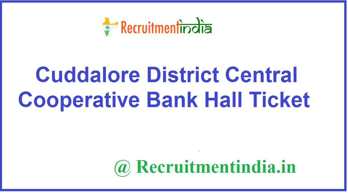 Cuddalore District Central Cooperative Bank Hall Ticket