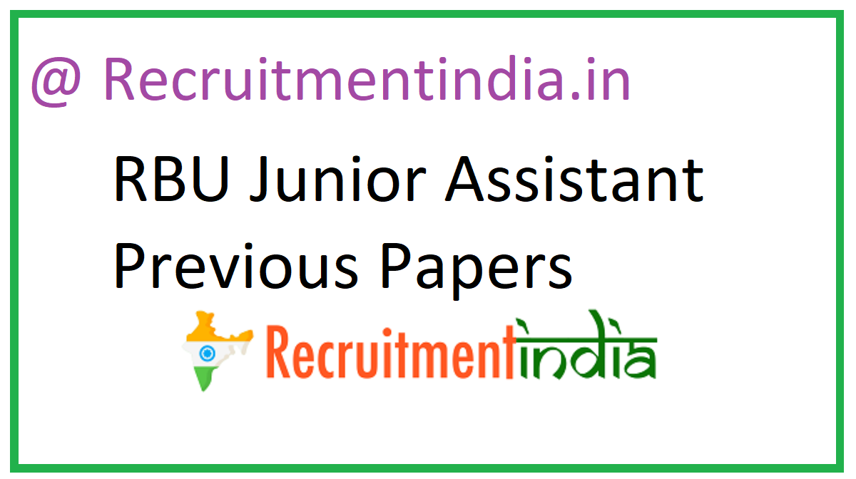 RBU Junior Assistant Question Papers