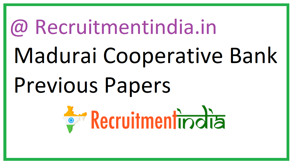 Madurai Cooperative Bank Previous Papers