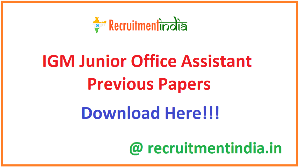 IGM Junior Office Assistant Previous Papers