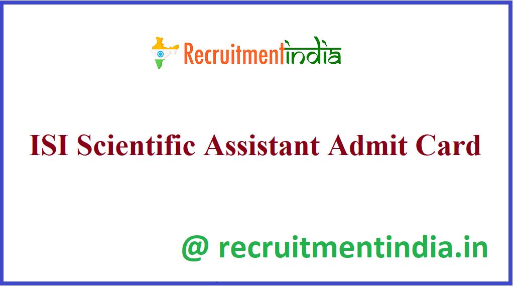 ISI Scientific Assistant Admit Card