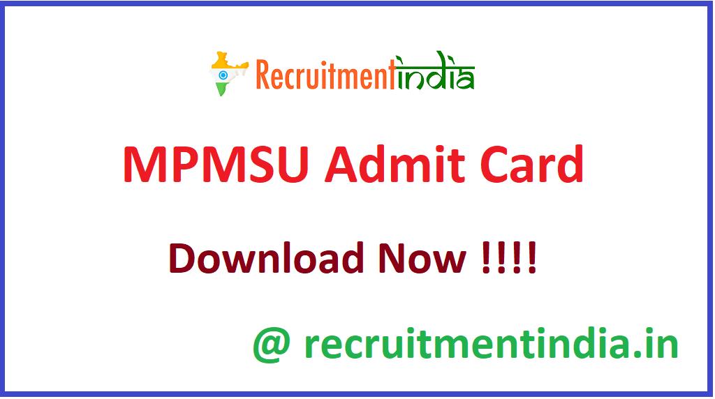 MPMSU Admit Card