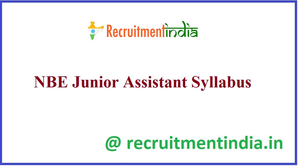 NBE Junior Assistant Syllabus