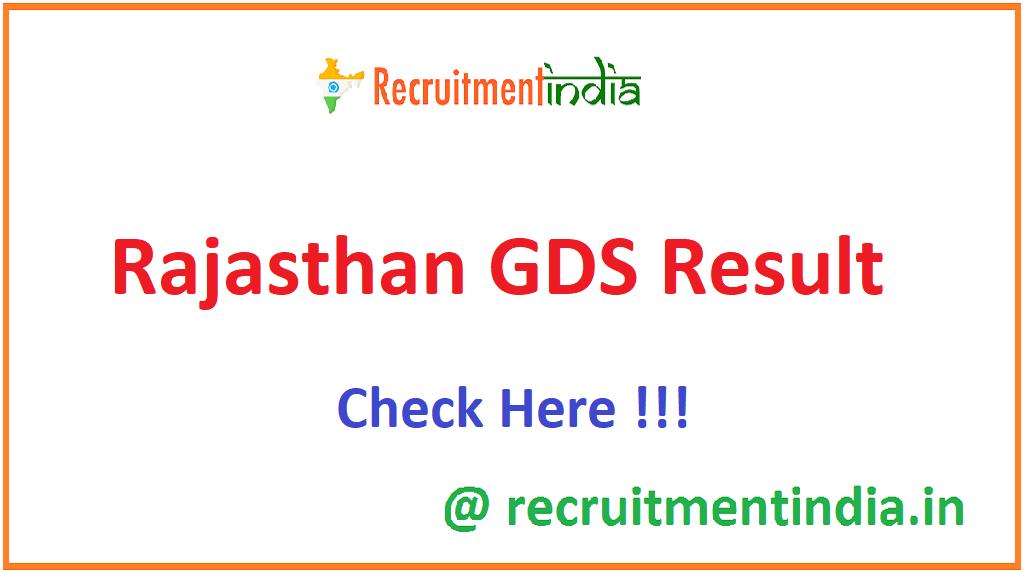 Rajasthan GDS Result