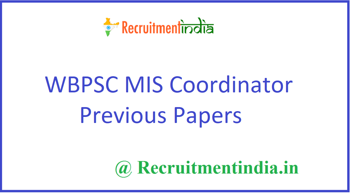 WBPSC MIS Coordinator Previous Papers