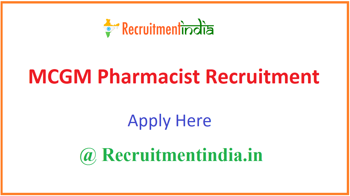 MCGM Pharmacist Recruitment