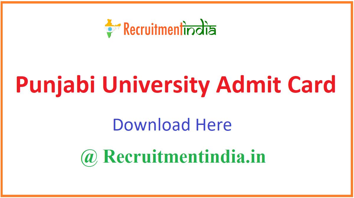 Punjabi University Admit Card