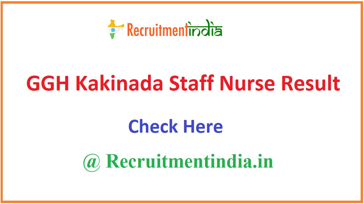 GGH Kakinada Staff Nurse Result
