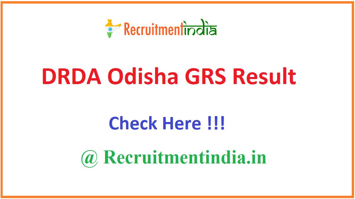DRDA Odisha GRS Result