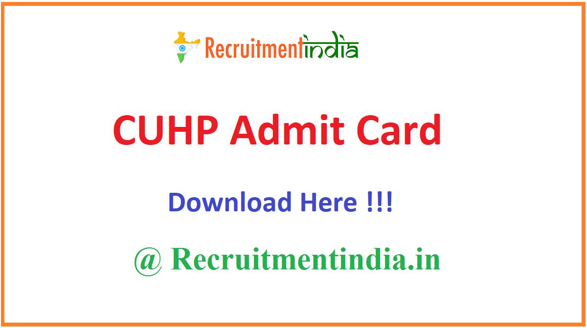 CUHP Admit Card