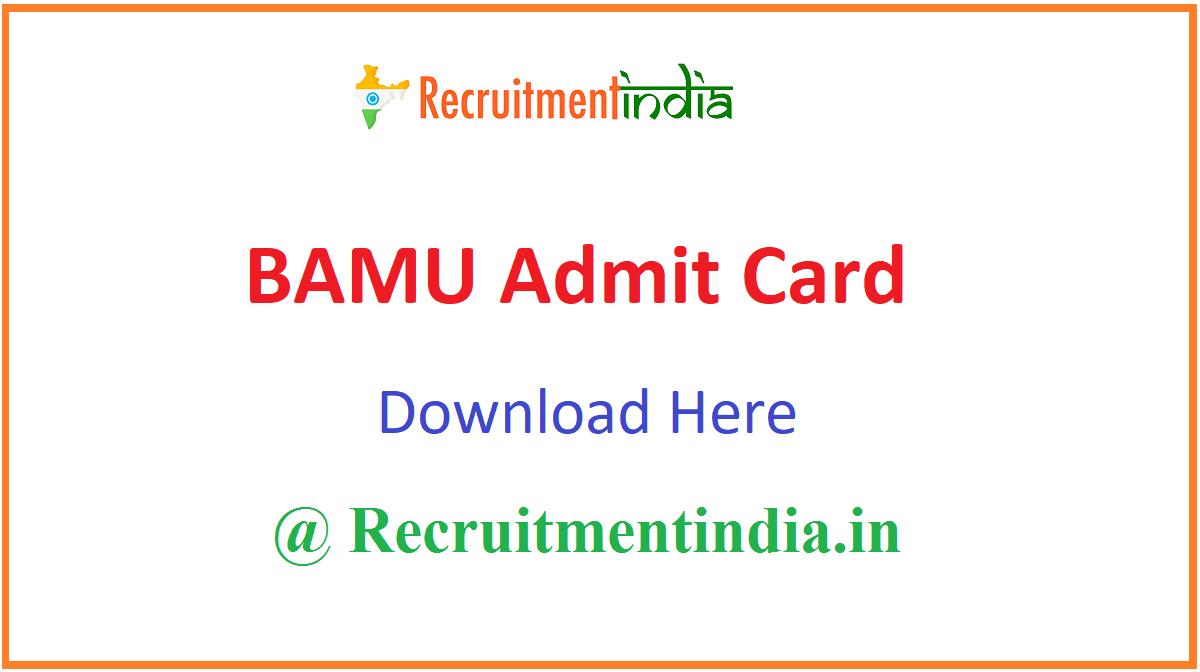 BAMU Admit Card