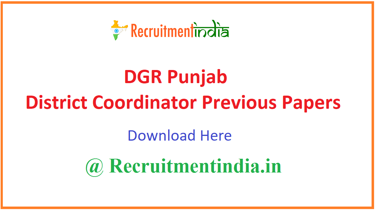DGR Punjab District Coordinator Previous Papers
