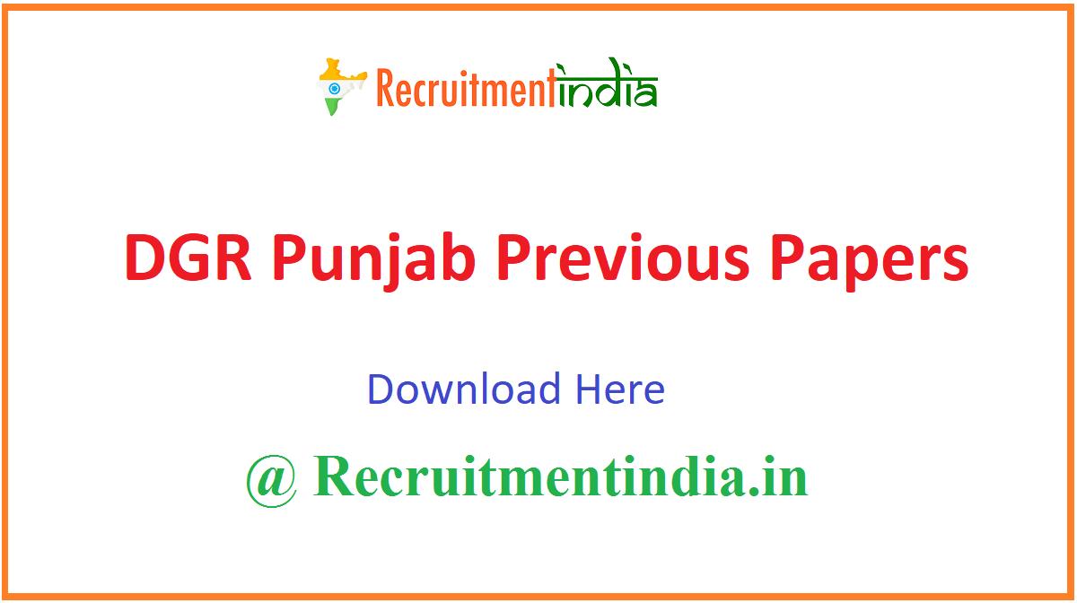 DGR Punjab Previous Papers