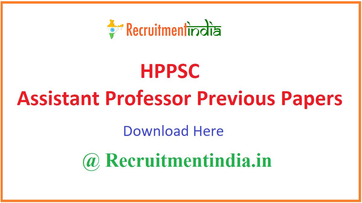 HPPSC Assistant Professor Previous Papers