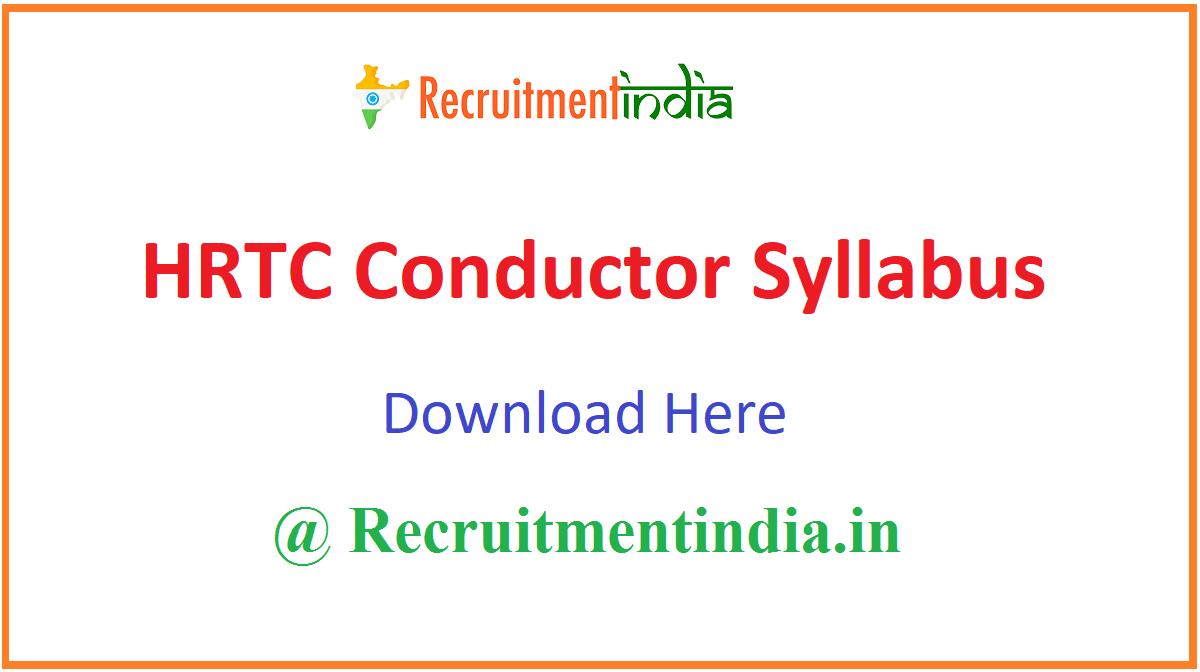 HRTC Conductor Syllabus