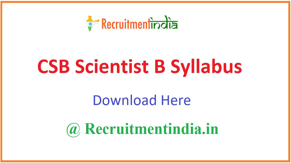 CSB Scientist B Syllabus