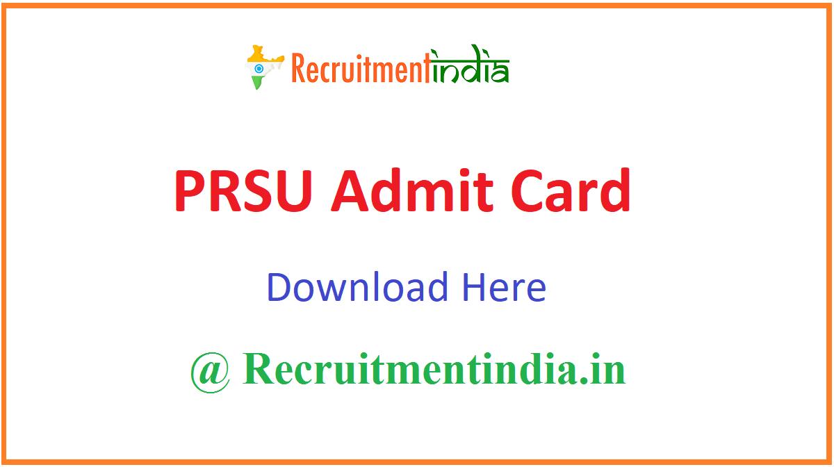 PRSU Admit Card
