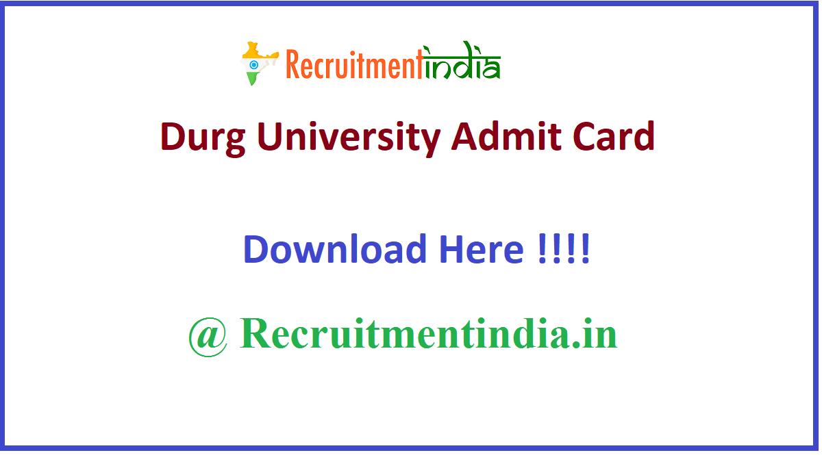 Durg University Admit Card